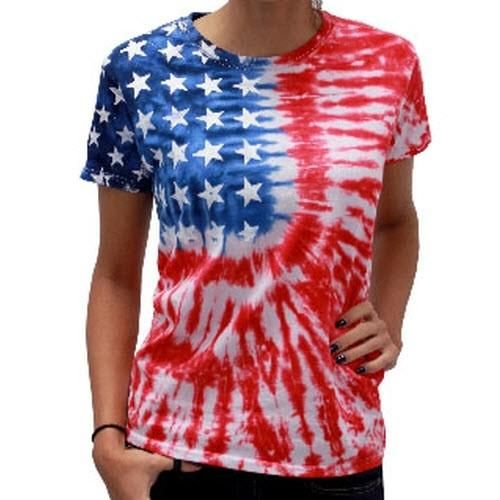 This American Flag Clothes Ladies Tie Dye Flag Cotton T Shirt Features An Attention Grabbing Abstract Tie Dye Shirts Patterns Diy Tie Dye Shirts Tye Dye Shirts