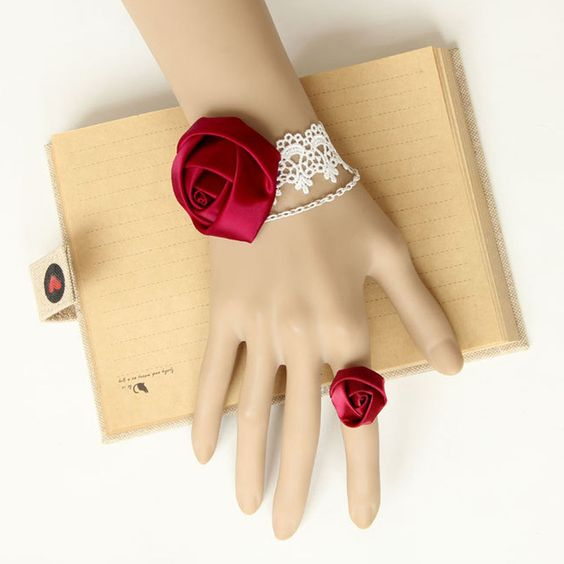 Womens Gothic Fashion Lace Red Collar Retro Vintage Bracelet Ring Jewelry WS-01