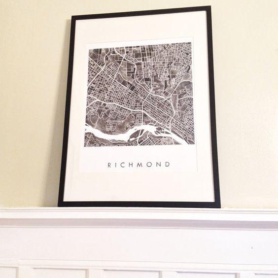 RICHMOND Map Watercolor Print VIRGINIA City by turnofthecenturies
