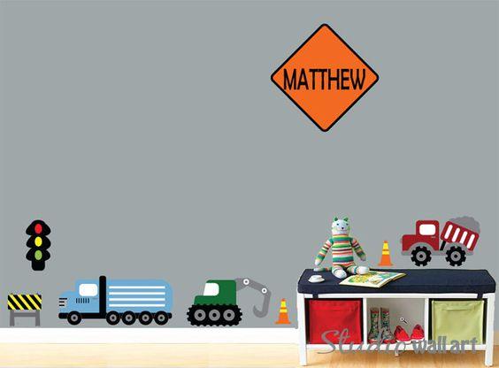 Wall Decal Cars Construction Childrens Wall by studiowallart