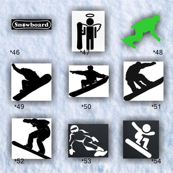 SNOWBOARDING #46-54 - vinyl decals - personalizable and multiple colors available