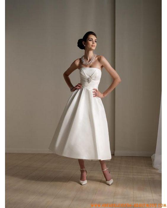 Schlichte Kurze Brautkleider aus Satin A-Linie