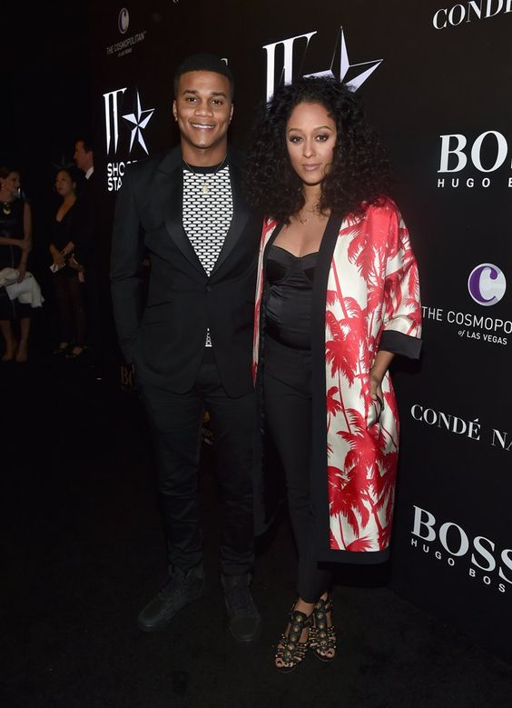 Pin for Later: Stars Gear Up For the Golden Globes!  Cute couple Cory Hardrict and Tia Mowry attended W's Shooting Stars Exhibit.