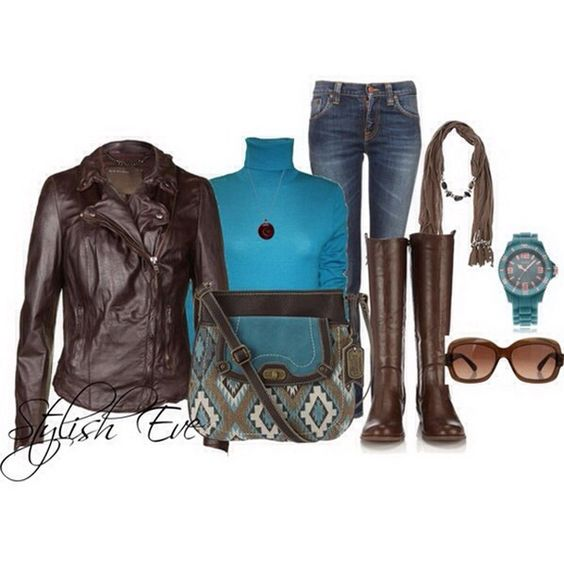 Brown leather with blue