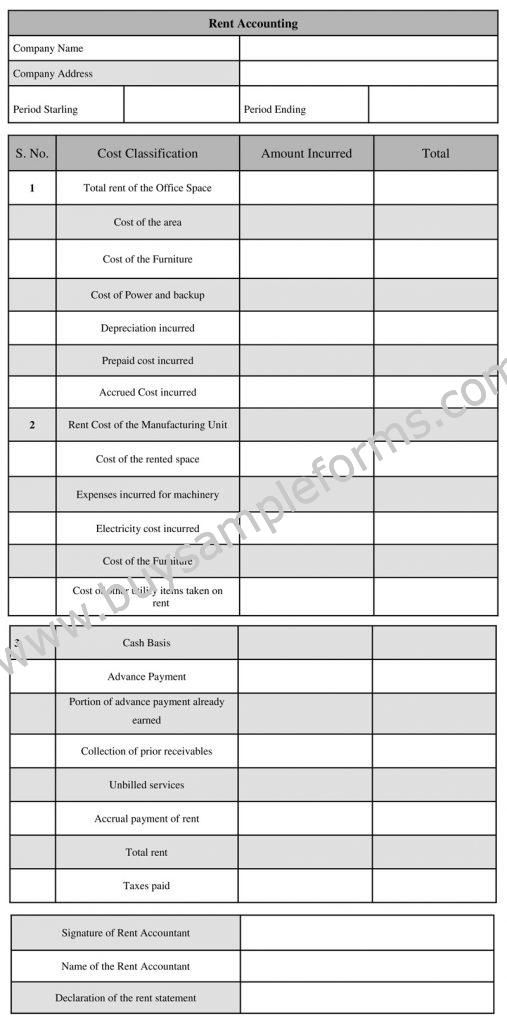 Printable Rent Accounting Form Rental Accounting Template Accounting Rent Printables