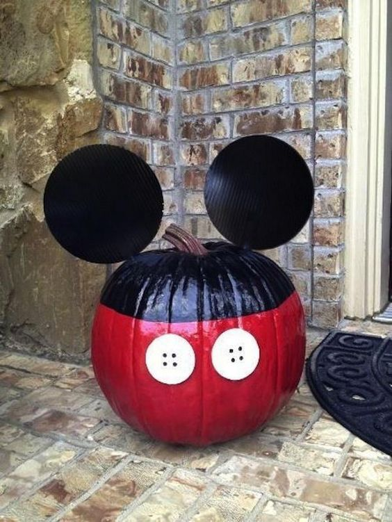 Mickey Mouse Pumpkin, Awesome Pumpkin Carving Ideas for Halloween Decorating, http://hative.com/awesome-pumpkin-carving-ideas-for-halloween-decorating/,