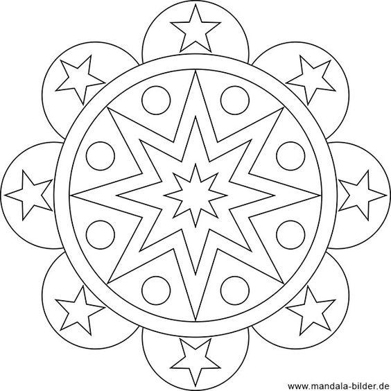 Gratis Ausmalbild Mit Sternen Als Mandala Ausmalbilder Mandala Malvorlagen Ausmalbild