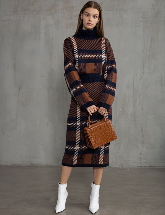 Plaid Matching Skirt and Sweater Set