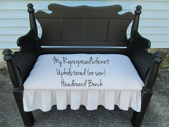 My Repurposed Life (NO sew) upholstered headboard bench