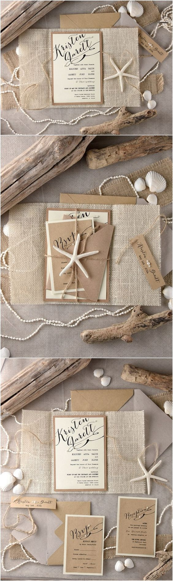 Rustic country burlap beach wedding invitations @4LOVEPolkaDots