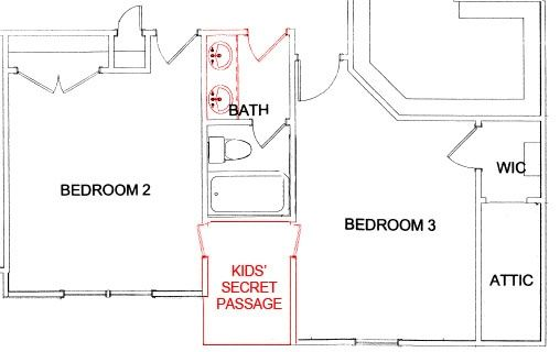 See Before And After Floor Plans That Show You How To Add A Secret Passage Or Hidden Room Between Kids Bedro Secret Rooms Secret Passage Kids Bedroom Flooring