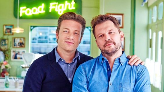 Jamie Oliver and Jimmy Doherty join forces at their end-of-the-pier caff to make top feasts for the weekend