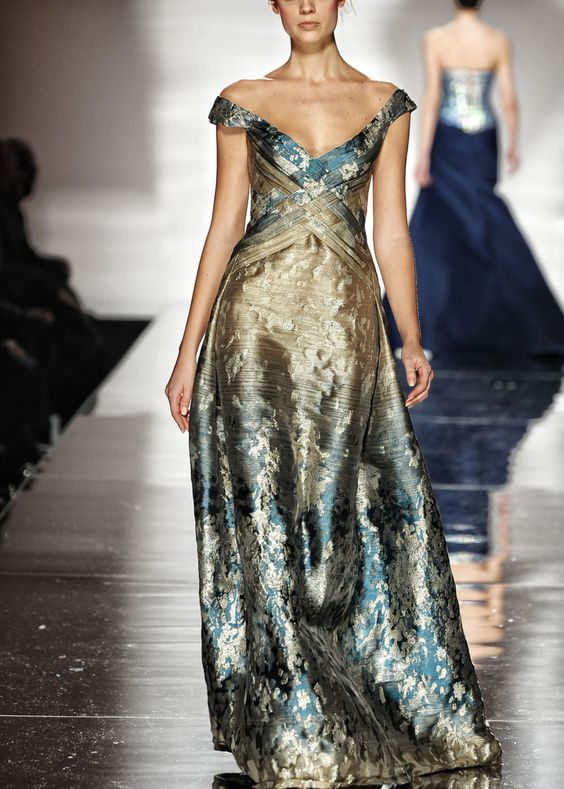 gold blue gown