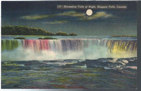 Vintage Postcard Niagara Falls New York NY Horseshoe Falls at Night Linen Teich