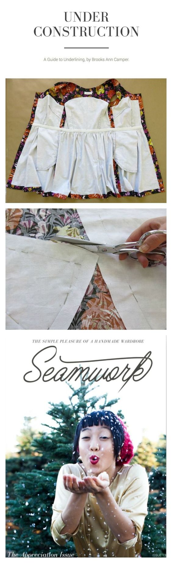 A guide to the sewing technique of underlining by Brooks Ann Camper for Seamwork Magazine