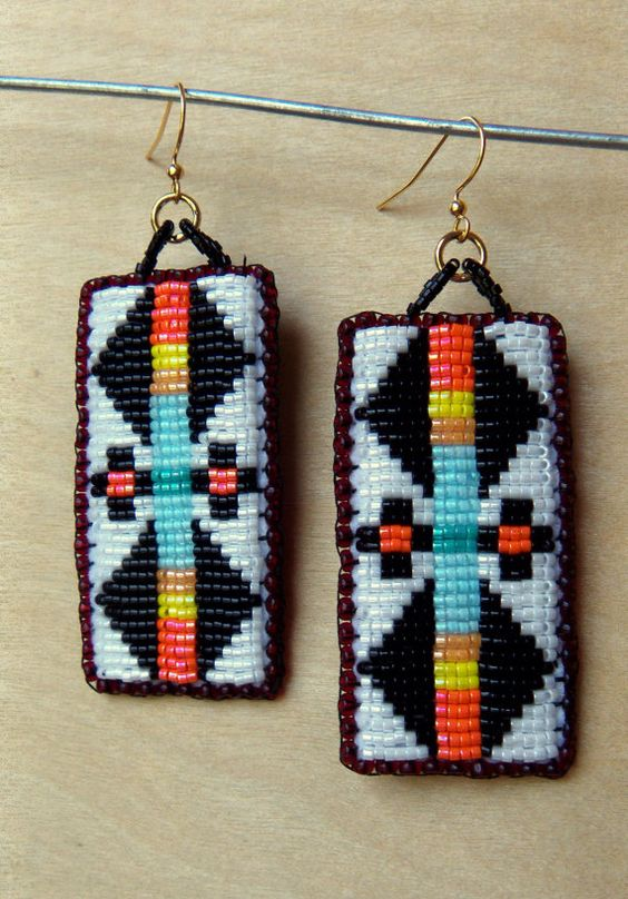Beaded Earrings Double Wings Coral and Blue by NativeCouture, $50.00