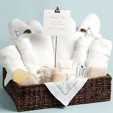 Pamper Your Guests  Make your overnight guests feel especially welcome. ...♥♥... Fill a basket with necessities such as bath and face towels, washcloths, and soap, as well as luxury items such as slippers, a robe, lotions, and a loofah. Place the basket in the guest room or guest bath with a personal greeting.