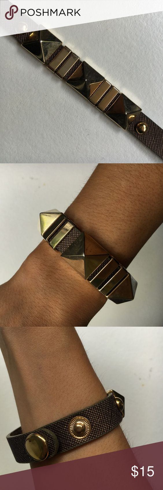 Leather Gold Spike Bracelet brown leather, three gold spikes, two snap buttons Jewelry Bracelets