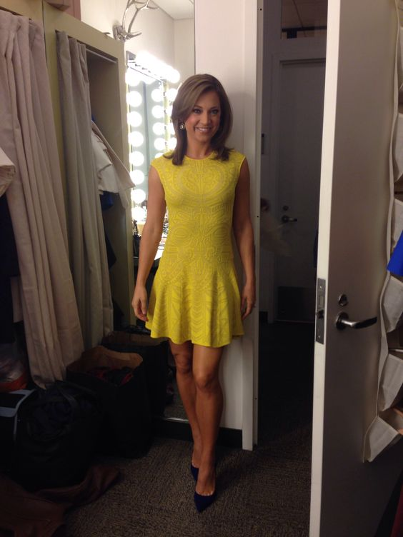 Good Morning America Ginger : Ginger zee wore our mayan lace jacquard flare dress on