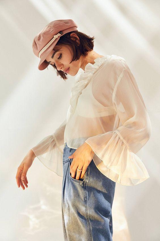 Kimchi Blue Leola Sheer Ruffle Blouse | Urban Outfitters