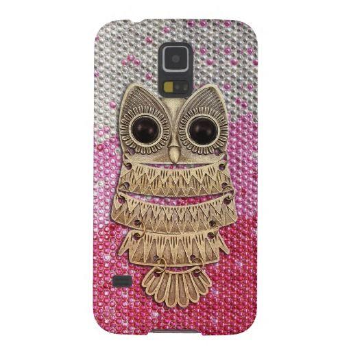 Cute Owl / Pink Ombre Swarovski Crystals Galaxy S5 Case