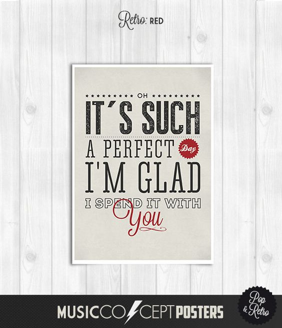 Lou Reed - Perfect Day - Music Concept POSTER - Lyrics Poster - Pick Size and Color