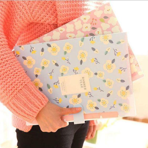 """Banner Year"" 1pc File Folder Plastic Document Bag Study Organizer 8 Pockets #Unbranded"