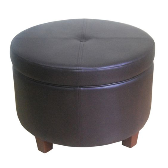 HomePop Large Round Chocolate Brown Storage Ottoman - Overstock™ Shopping -  Great Deals on HomePop - HomePop Large Round Chocolate Brown Storage Ottoman (Chocolate