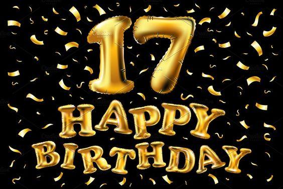 happy birthday 17 gold balloon by Rommeo79 on @creativemarket
