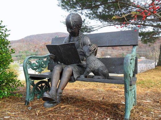 Ashe County Public Library statue: