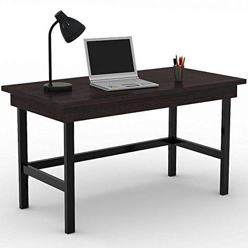 Black Computer Desk With Keyboard Tray