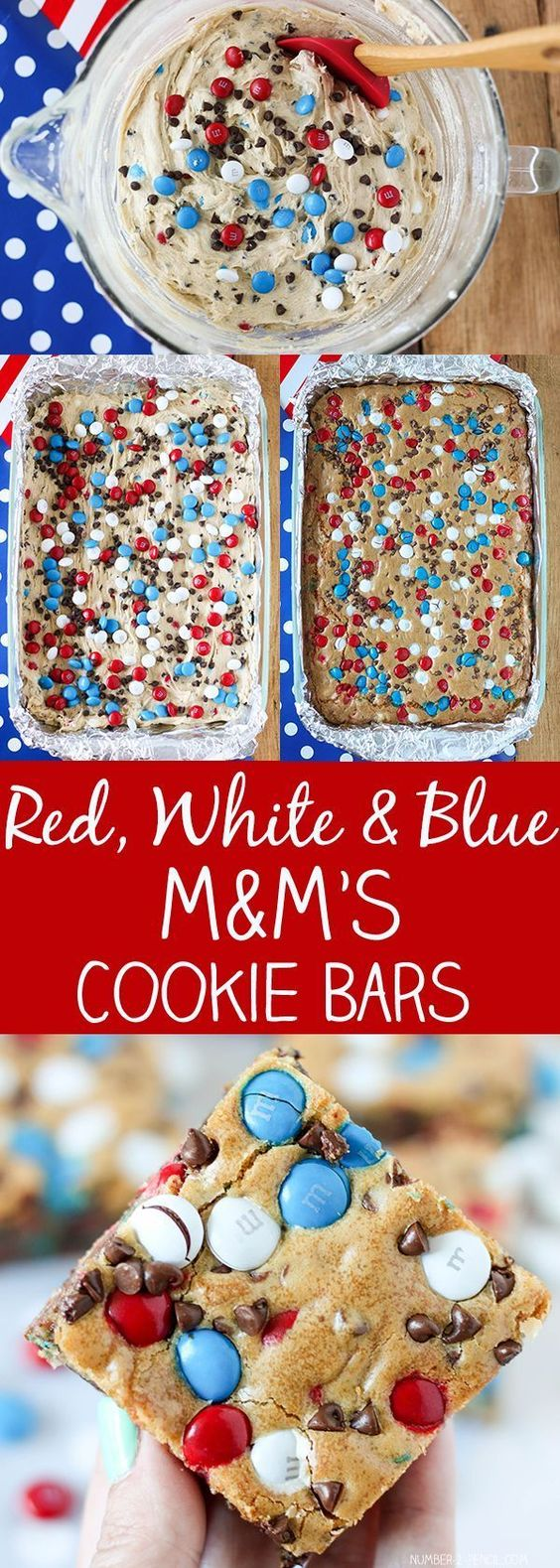 Patriotic Red White and Blue M&M'S Cookie Bars for 4th of July