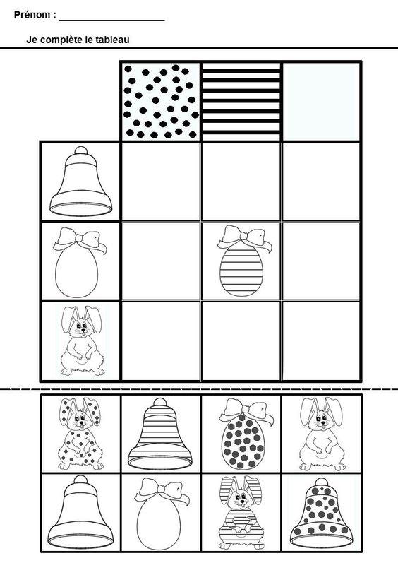 math matiques tableau double entrees pour maternelle ms gs maternelle ps ms gs pinterest. Black Bedroom Furniture Sets. Home Design Ideas