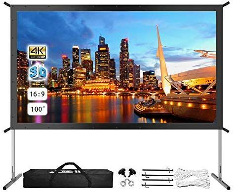 Amazon Com Projector Screen With Stand 100 4k Hd Outdoor Indoor Portable Projector Screen Outdoor Projector Best Projector Screen Outdoor Projector Screens
