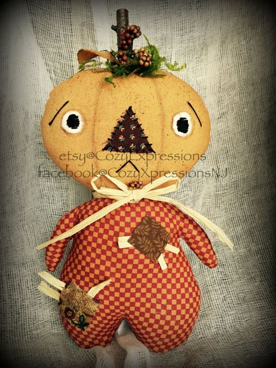 Primitive Pumpkin Doll  Fall Decor  Pumpkin by CozyExpressions