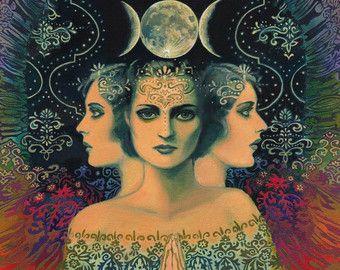 Luna a diosa del misterio psicodélico Tarot 16 x por EmilyBalivet