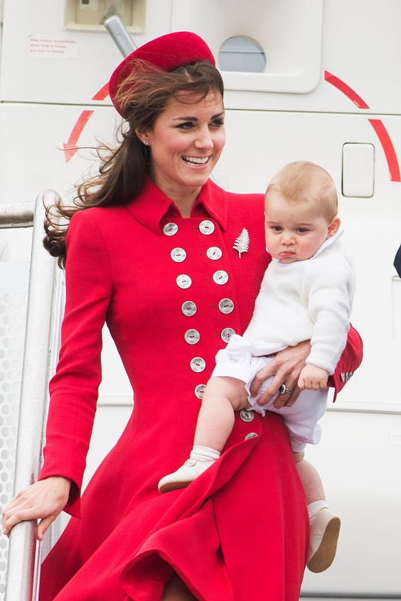 7 April 2014 - The Duke and Duchess of Cambridge touched down at Wellington Airport with Prince George