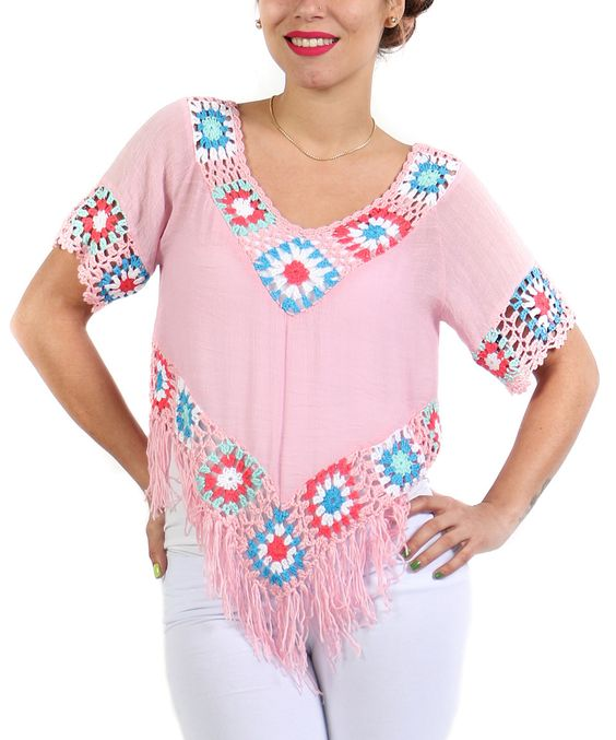Look what I found on #zulily! Pink Embroidered Fringe-Trim Top by Shoreline #zulilyfinds
