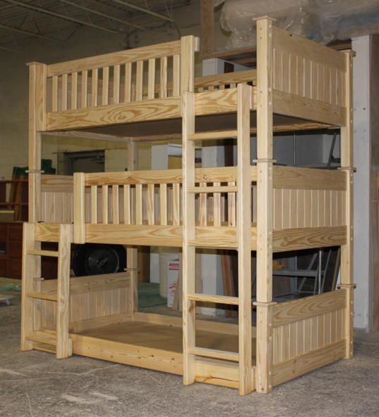 Bunk beds 64 custom unfinished triple bunk bed jpg 538 for Triple bunk bed