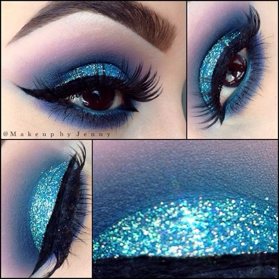 "#ShareIG All about glitter  Eyeshadows- MAC ""deep truth, Atlantic blue, stars & rockets""  Glitter- @glamorouschickscosmetics ""Blue sky""  Liner- NYC liquid liner  Lashes- @eyemimocosmetics #NTR27 #makeupbyjenny"