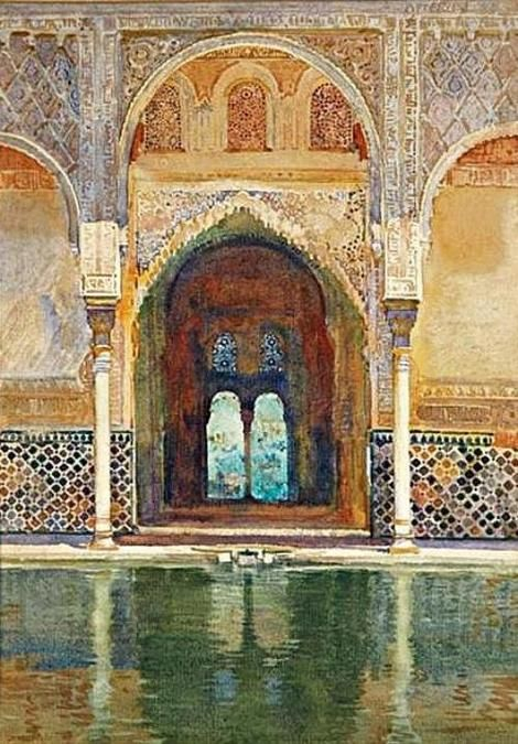 G.O.W. Apperley, Patio de los Arrayanes(1), Alhambra, Granada, acuarela. on ArtStack #g-o-w-apperley #art