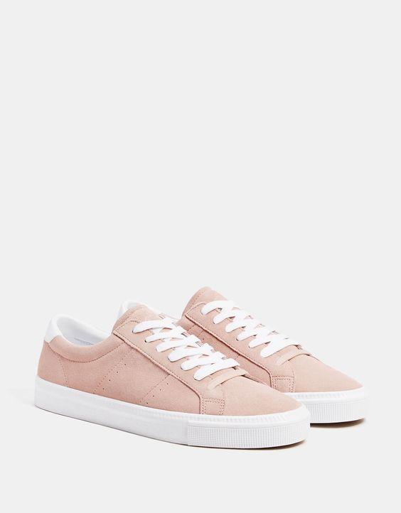 Кожаные кеды розового цвета Bershka