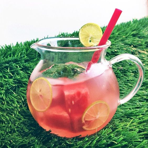 Deliciously refreshing iced tea perfect for a hot summers day. American Tea Room's Nirvana Loose Green Tea has a perfect balance of  berries, kiwi, fig, peony petals, and Japanese Green Tea that will delight tastebuds all around.   Ingredients: Nirvana Loose Tea Pomegranate Limeade Fresh Watermelon Key Limes Ice  #americantearoom #icedtea #tea #tearecipe #recipe #watermelon #limeade #cool #keylime #refreshing #icedteamonth #drinks