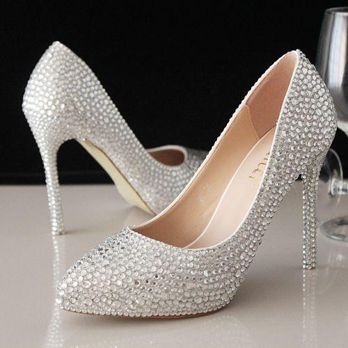 chaussures femme talons hauts pour robe de soire aux mini strass scintillants escarpin pas cher - Escarpin Argent Mariage