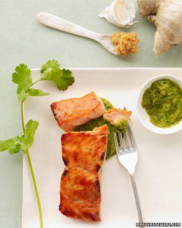 Miso Salmon with Cilantro Salsa
