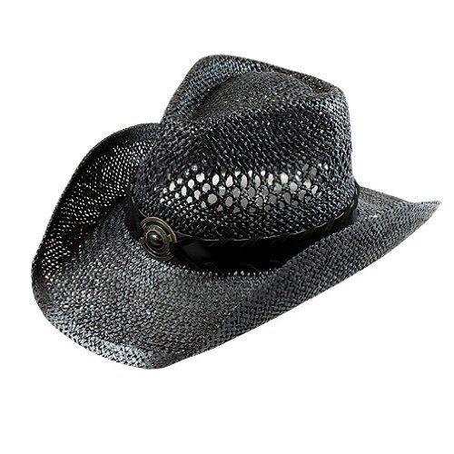 cool cowboy toyo straw hat trim black