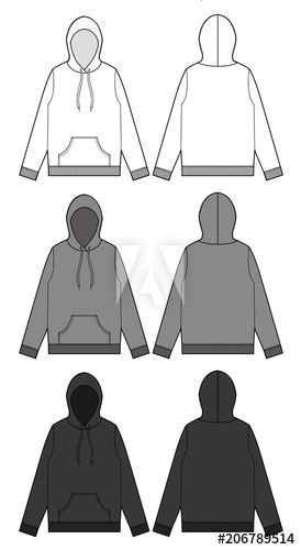 Top Sweatshirt Hoodie Tee Fashion Vector Illustration Flat Sketches Template Clothes Illustration Hoodie Illustration Hoodie Template