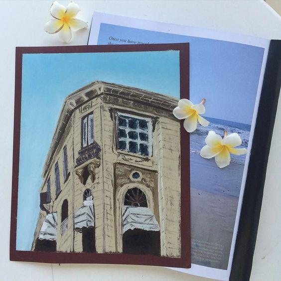 Soft pastels sand paper and architecture elements go perfectly well together. Here's a beautiful building in Limassol made in soft pastels // пастель наждачка и архитектурные элементы. Похоже все это создано друг для друга. Не могла не нарисовать это потрясающе красивое здание в Лимассоле #кипр #lovecyprus #cyprusinyourheart #instatravel #instalike #ставни #дом#softpastels #пастель #rembrandt by evgueniakoneva