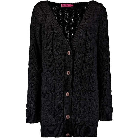Boohoo Keira Cable Twist Boyfriend Cardigan (€31) ❤ liked on Polyvore featuring tops, cardigans, outerwear, layered crop top, cable knit cardigan, cardigan jacket, cable cardigan and cardigan coat