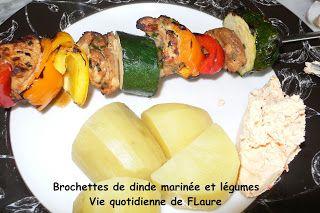 Vie quotidienne de FLaure: Brochettes de dinde marinée et légumes